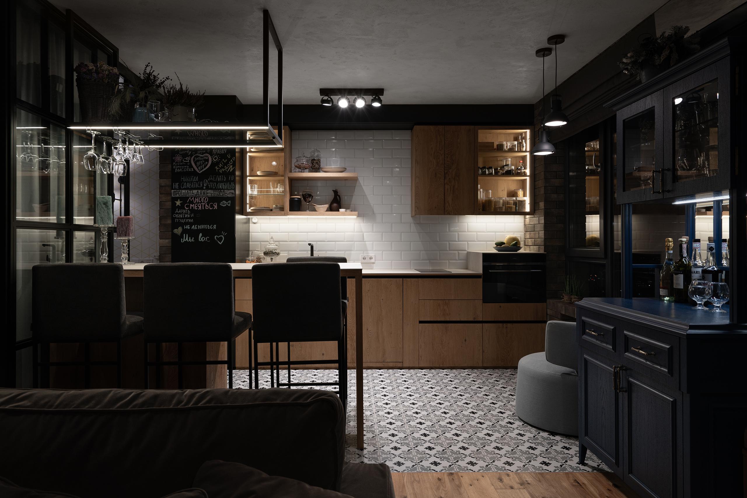 Фотосъемка интерьера вечерней кухни